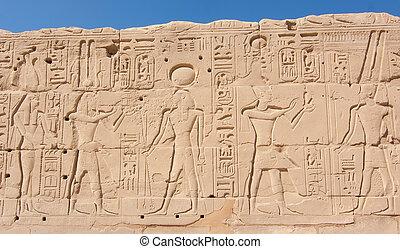 egípcio, areia, templo, exterior, parede, karnak, luxor, gravado