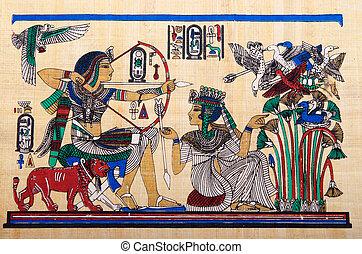 egípcio, conceito, papyrus, história