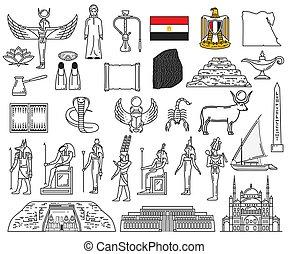 egípcio, deuses, marcos, religião, símbolos