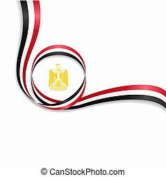 egípcio, ondulado, bandeira, experiência., vetorial, illustration.