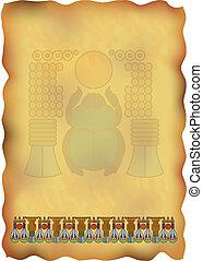 egípcio, papyrus, com, ornamentos, e, scarab.