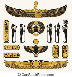 egípcio, símbolos, e, decorações