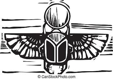 egípcio, winged, scarab