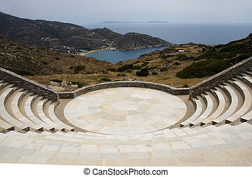 egeïsch, eiland, ios, amphitheater, griekse , zee, milopotas...