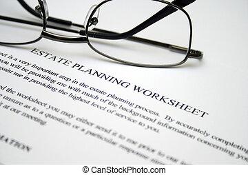 egendom, planerande, worksheet
