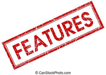 egenskaber, røde kvadratiske, frimærke, isoleret, på hvide, baggrund