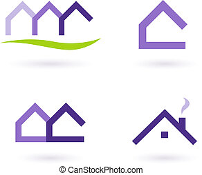 egentlig estate, logo, og, iconerne, vektor, -, purpur, og,...