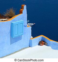 egeo, colorito, mare, oia, santorini, villaggio, terrazzo, sopra, grecia
