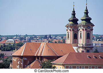 Eger city and church in Hungary - Overview of Eger town,...
