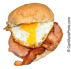 Egg And Bacon Sandwich - Fried egg and bacon on a wholemeal...