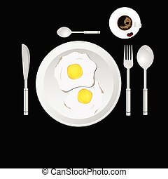 egg and cup of coffee vector illustration