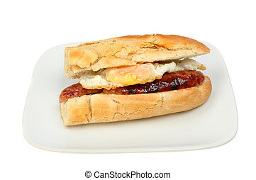 Egg and sausage baguette