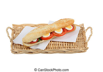 Egg and tomato baguette