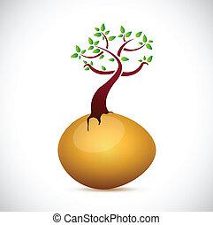 egg and tree illustration design