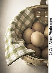 Egg Basket - Vintage Effect - Angled shot, from above, of a...