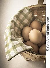 Egg Basket with Vintage Effect - A basket of gathered eggs...