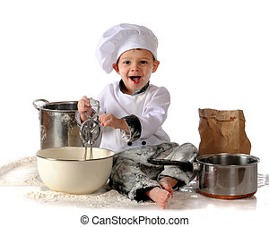 A toddler boy spinning a hand-held egg beater in a big bowl. He's surrounded by pots and spilled flour. Isolated on white.
