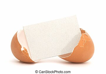 Egg blank card#1 - Cracked Egg with Blank Card #1