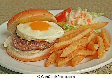 Egg Burger combo of fries and coleslaw