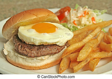 Egg Burger with Side Dishes - Egg Burger with french fries ...