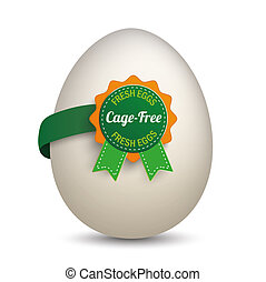 Egg Cage-Free Label - Egg with label and text Cage-Free and...