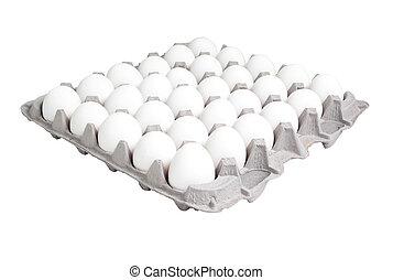 Egg Carton - 24 count egg carton isolated on white.