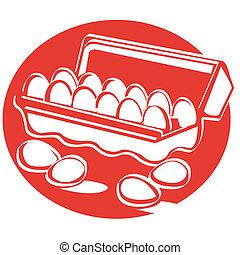 Egg carton clip art in retro style