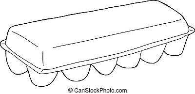Egg Carton Outline - Single hand drawn outline egg carton...