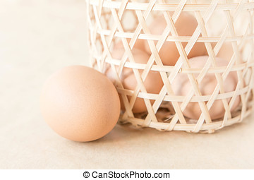 Egg collection on brown background