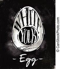 Egg cutting scheme chalk