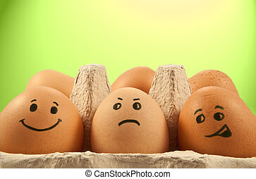 Egg emotions - Close and low level of several brown eggs...