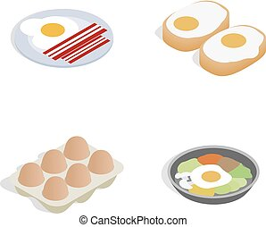 Egg food icon set, isometric style