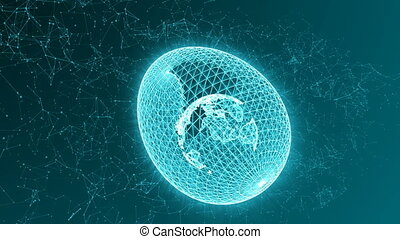 Egg formed from lines and points, with the planet Earth inside, abstract animation