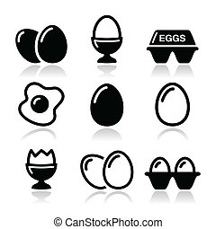 Egg, fried egg, egg box icons set - Food or resataurant...