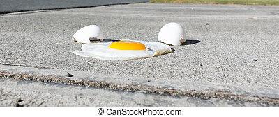 Egg frying on a hot sidewalk