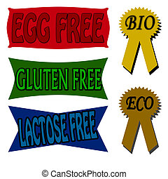 Stamp with words egg lactose and gluten free inside, vector illustration