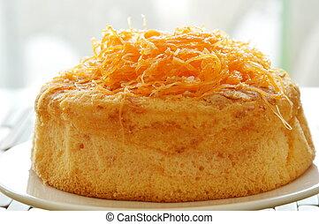 egg golden threads cake on dish