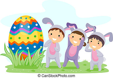 Egg Hunt - Illustration of Kids on an Easter Egg Hunt