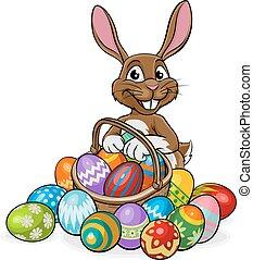 Easter Bunny on an egg hunt with a basket or hamper
