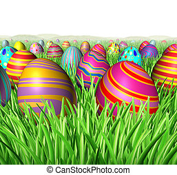 Egg Hunt - Egg hunt and hunting for Easter eggs in a feild...