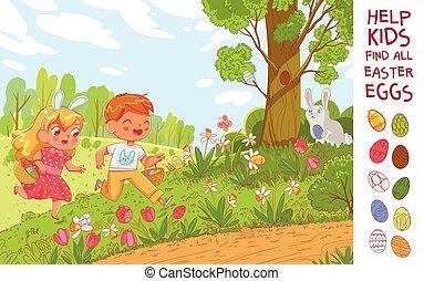 Egg hunt. Help the children find 10 hidden Easter eggs in the meadow