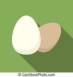 Egg Icon. Flat vector illustration on green background