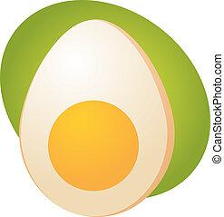 Egg illustration clipart half sliced boiled egg