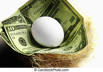egg in a nest with cash, symbolizing retirement or money saving