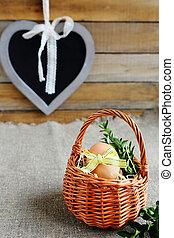 egg in a wicker basket mini