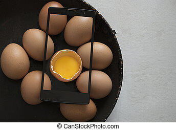egg in a wooden background