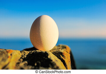 Egg in balance on stone