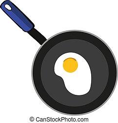 Egg in pan, illustration, vector on white background.