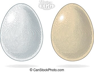 Egg in vintage engraved style
