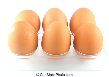 egg isolated / six eggs in box isolated on white background - fresh brown eggs farm organic